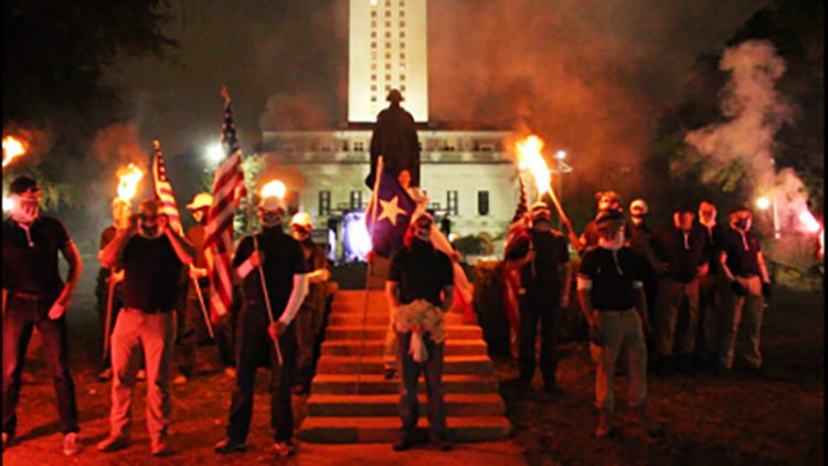 The Patriot Front is one of the more active American white supremacist groups. Photo: ADL.org