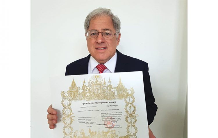 Cambodia awarded Phillip Weiner a proclamation of knighthood.