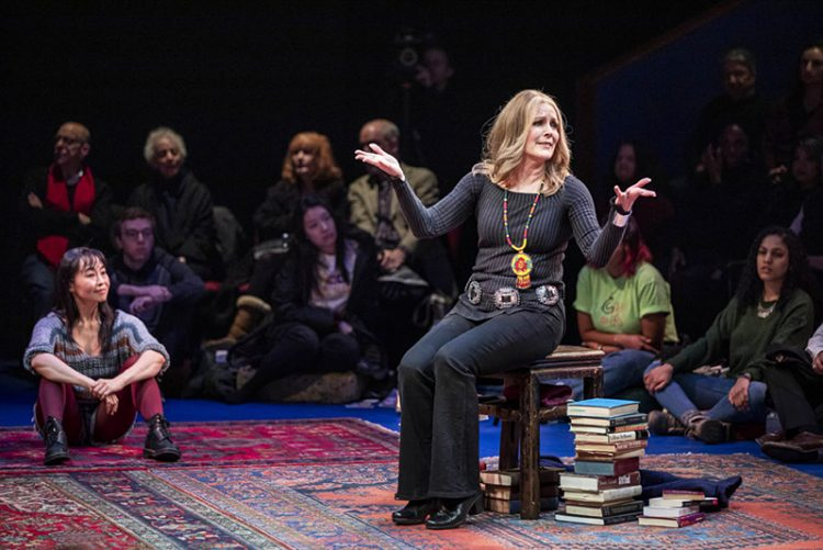 """Eunice Wong and Patricia Kalember as Gloria Steinem in American Repertory Theater production of """"Gloria: A Life."""""""