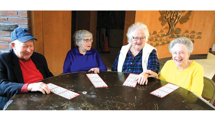 David and Bella Westerman, Marilyn Masters, and Dottie Scott recently played their last game of bingo at their Malden temple.  Photo: Philip Butkovitz