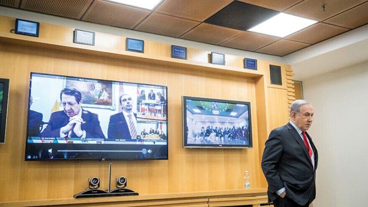 Israeli Prime Minister Benjamin Netanyahu participates in a video conference with European leaders regarding the coronavirus. Photo: Yonatan Sindel/Flash90