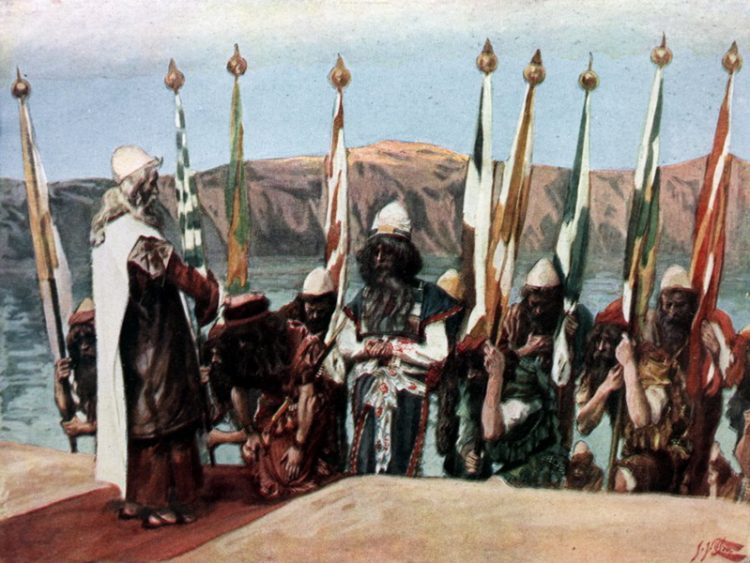 Moses Blesses Joshua Before the High Priest (watercolor circa 1900 by James Tissot)