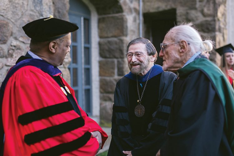 Bob Lappin (right) and Marv Wilson (center) with Gordon College trustee Herman Smith (left) at Gordon's 2017 Commencement, when Lappin was awarded an honorary doctorate.