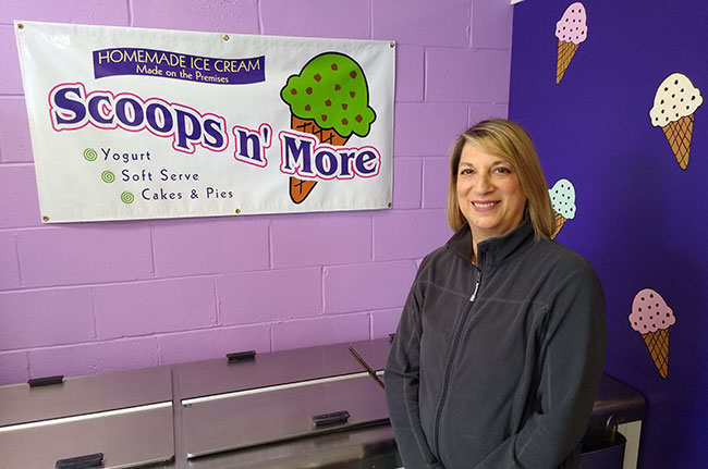 Cindy Yanofsky owns the Scoops N' More ice cream shop in West Peabody.