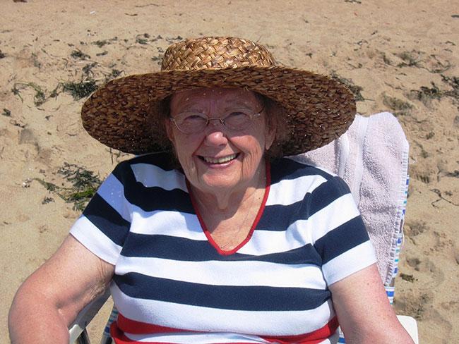 Rhoda Brand enjoyed watching her grandchildren and great-grandchildren play on the beach.