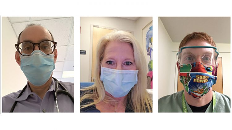 """We try to support them to see if we can give their own immune system a chance to fight this horrible disease and get better,"" said Dr. Mitch Jacobson, left; neonatologist Leslie Kerzner, center, and emergency trauma technician Jake Danesh."