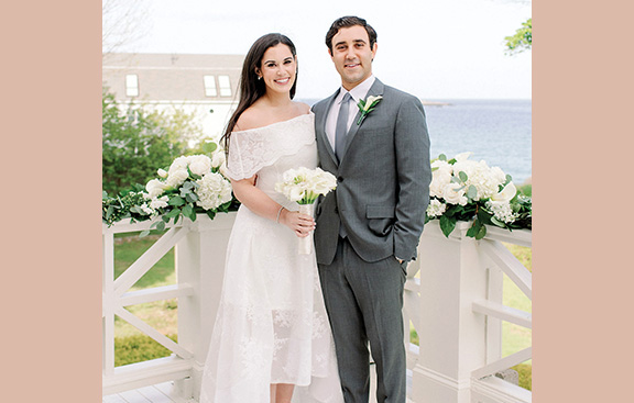 Lauren Cohen and Sam Andler originally planned to get married on Memorial Day weekend in Salem. Because of the health crisis, they held an intimate wedding in Swampscott. Photo: Lynne Reznic