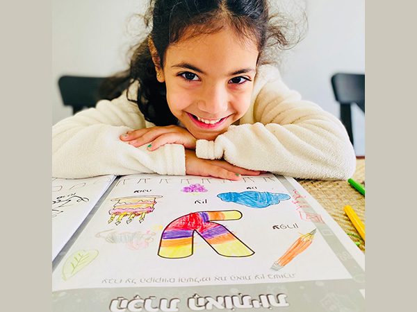 Ariel, a kindergartner at Epstein Hillel School in Marblehead, learns Hebrew.