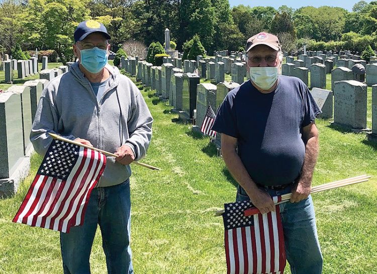Barry Lischinsky and Mark Tolpin at Pride of Lynn Cemetery.