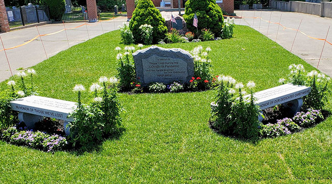 The Covid-19 memorial at the Baker Street Memorial Park in West Roxbury. / Photo: Jewish Cemetery Association of Massachusetts