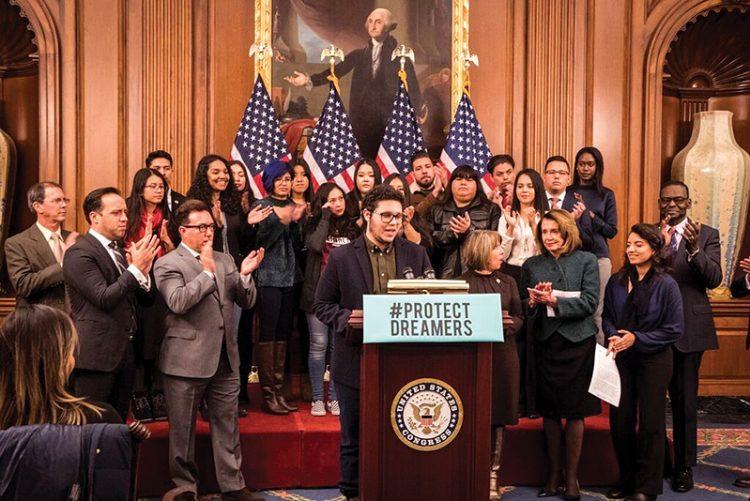 Elias Rosenfeld addressing House Democratic leadership in Washington, DC.