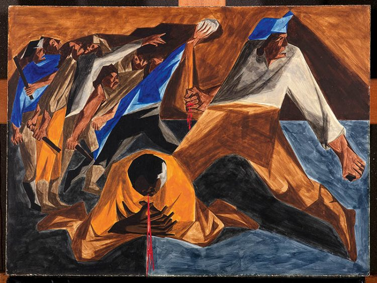 """Jacob Lawrence, Massacre in Boston, Panel 2, 1955, from """"Struggle: From the History of the American People.""""  / Collection of Harvey and Harvey-Ann Ross/Courtesy PEM"""