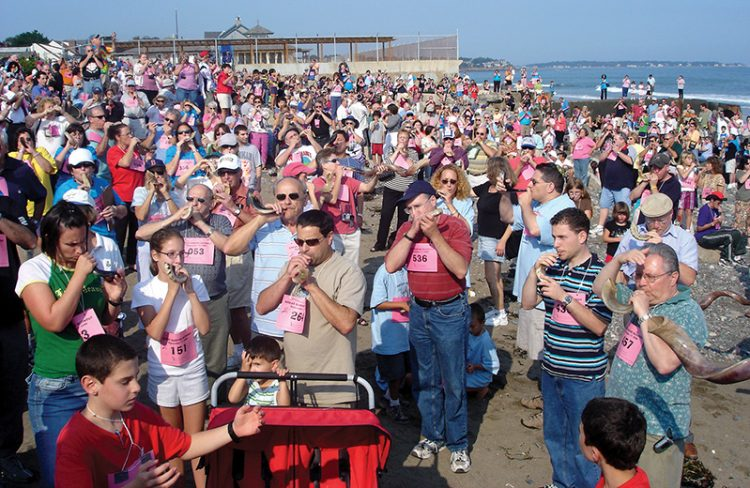 In 2006, Jews gathered at Phillips Beach in Swampscott and set a Guinness World Record for largest shofar ensemble. Photo: Steven A. Rosenberg/Journal Staff