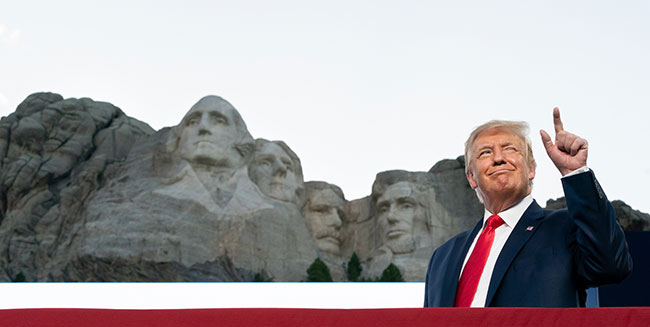 The president sounded some traditional themes in his holiday remarks at Mount Rushmore, but he attracted the most attention when he talked about the people he did not like. / Photo: White House