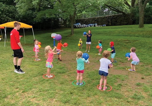 Children returned to a socially distanced setting at the JCC's KinderCamp in Marblehead this month.