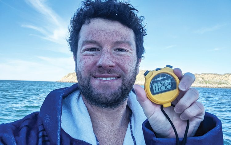 Craig Lewin, after he completed his swim across the English Channel.