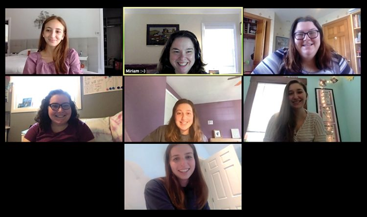 Hillel's Miriam Berkowitz Blue, top center, meets with Simmons University Hillel student leaders to plan programs over Zoom.