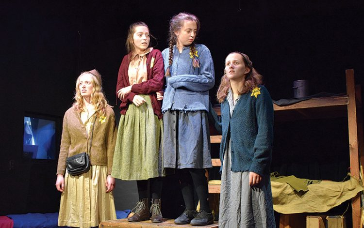 "Ava Laroche, Jessie Rosenthal, Olivia Colden, and Katie Lowell in ""Terezin – Children of the Holocaust."""