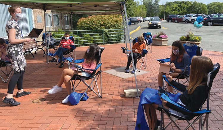 The Epstein Hillel School is utilizing the outdoors as much as possible to provide safe instruction during the Covid-19 pandemic.  Photo: Courtesy Epstein Hillel