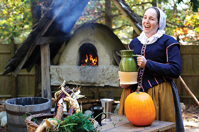 Malka Benjamin sings while playing the role of a 17th-century English settler. Courtesy Malka Benjamin