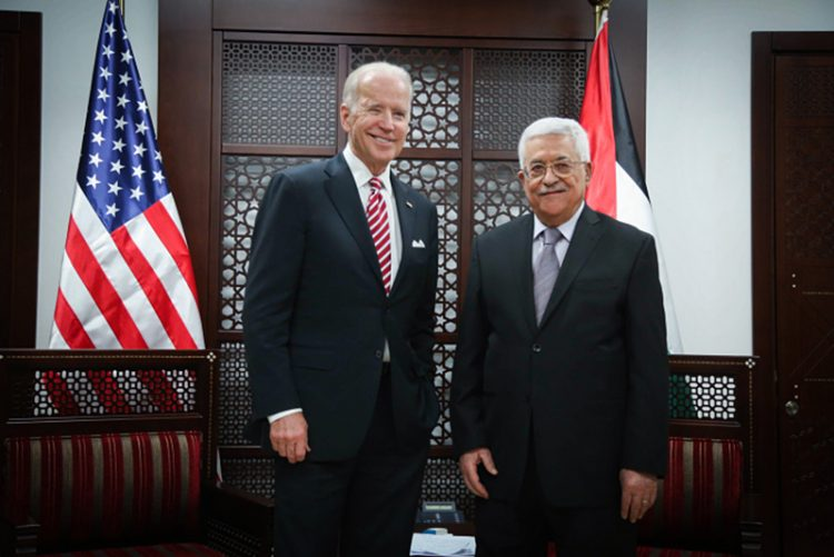 As vice president, President-elect Joe Biden met with Palestinian Authority Leader Mahmoud Abbas in Ramallah in 2016. Photo by Flash90