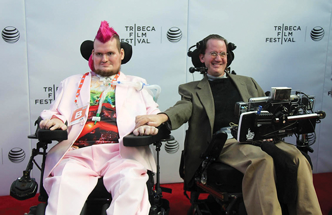 "Patrick O'Brien, left, and Steve Saling, two longtime Leonard Florence Center for Living residents, at the Tribeca Film Festival in New York City in 2015. O'Brien has been living on a ventilator at the Leonard Florence Center for the past 10 years, and during that time produced a documentary, ""Transfatty Lives,"" that won the Audience Award at the Tribeca Film Festival."