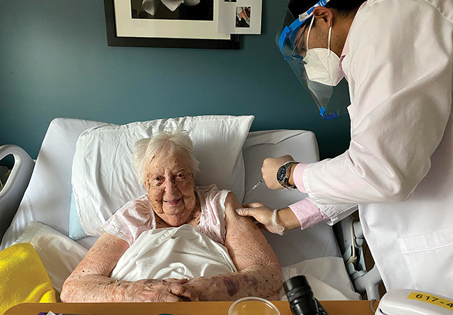 Eleanor Karp, 106, received the coronavirus vaccine at the Leonard Florence Center for Living in Chelsea.