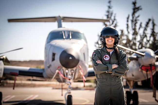 """Lt. O,"" a Brookine native, is the first American woman to graduate from the IAF's pilot course. Photo: IAF"