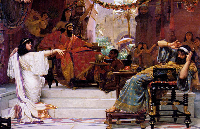"""Esther Denouncing Haman,"" by Ernest Normand, 1888. Wikipedia Commons."