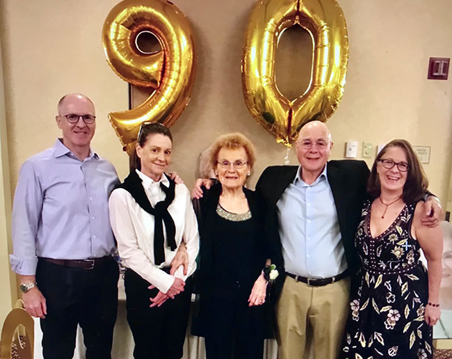 From left to right, Larry Kravetz, Gail Ryan, Freda Kravetz, Ken Kravetz and Paula Kravetz celebrate Freda's 90th birthday.