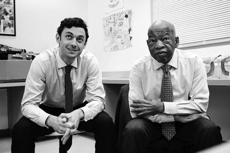 Jon Ossoff with his mentor, the late Georgia U.S. Representative John Lewis. Photo: Courtesy of Richard Ossoff