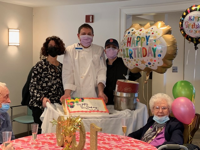 "Thelma Kropp Taylor (right, sitting), turned 100 last month. She credits her longevity to ""good genes."""