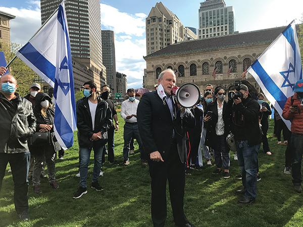 Ambassador Meron Reuben, Consul General of Israel to New England, at a pro-Israel rally last week in Boston. Photos: Steven A. Rosenberg/Journal Staff