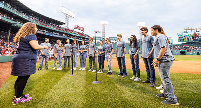 Gann Academy students perform the national anthem at Fenway Park during Jewish Heritage Night on June 8. /  Photo: Courtesy of the Boston Red Sox