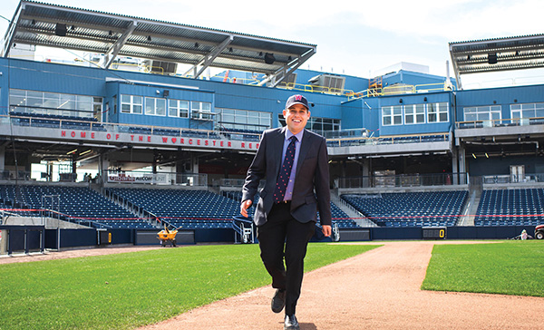 Matt Levin, chief financial officer of the Worcester Red Sox, at Polar Park in Worcester. Photo: Jackie Ricciardi