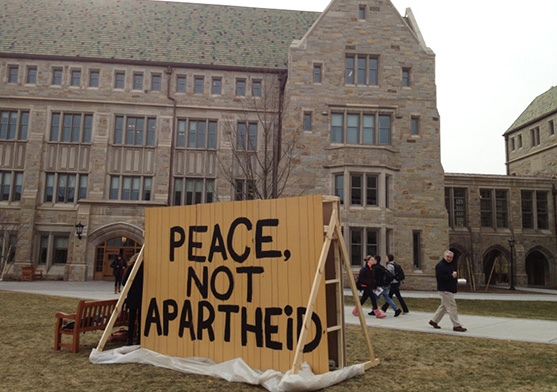 """At Boston College, anti-Israeli activists have erected an eight-foot-high wall during its annual """"Peace, Not Apartheid Week."""""""